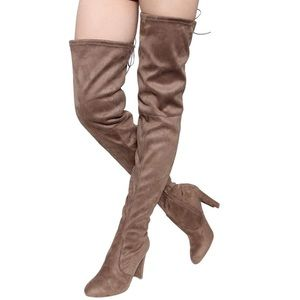 Faux Suede Thigh High Drawstring Chunky Heel Boot